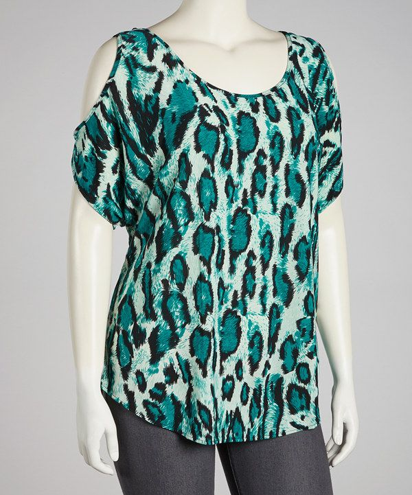 Take a look at this jon & anna Aqua Leopard Cutout Top - Plus on zulily today!