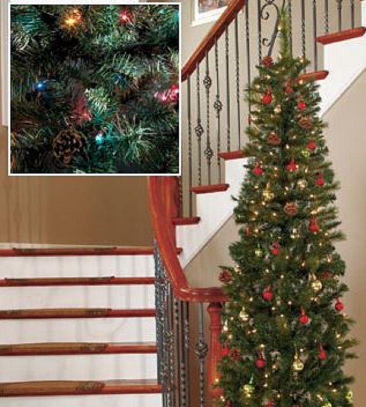 Prelit Artificial Christmas Tree 7 Ft. Slim Narrow w Stand Holiday ...