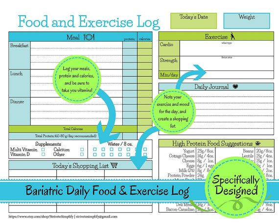 Bariatric Surgery Daily Food Exercise Tracker Weigh Loss Journal - diet and exercise tracker
