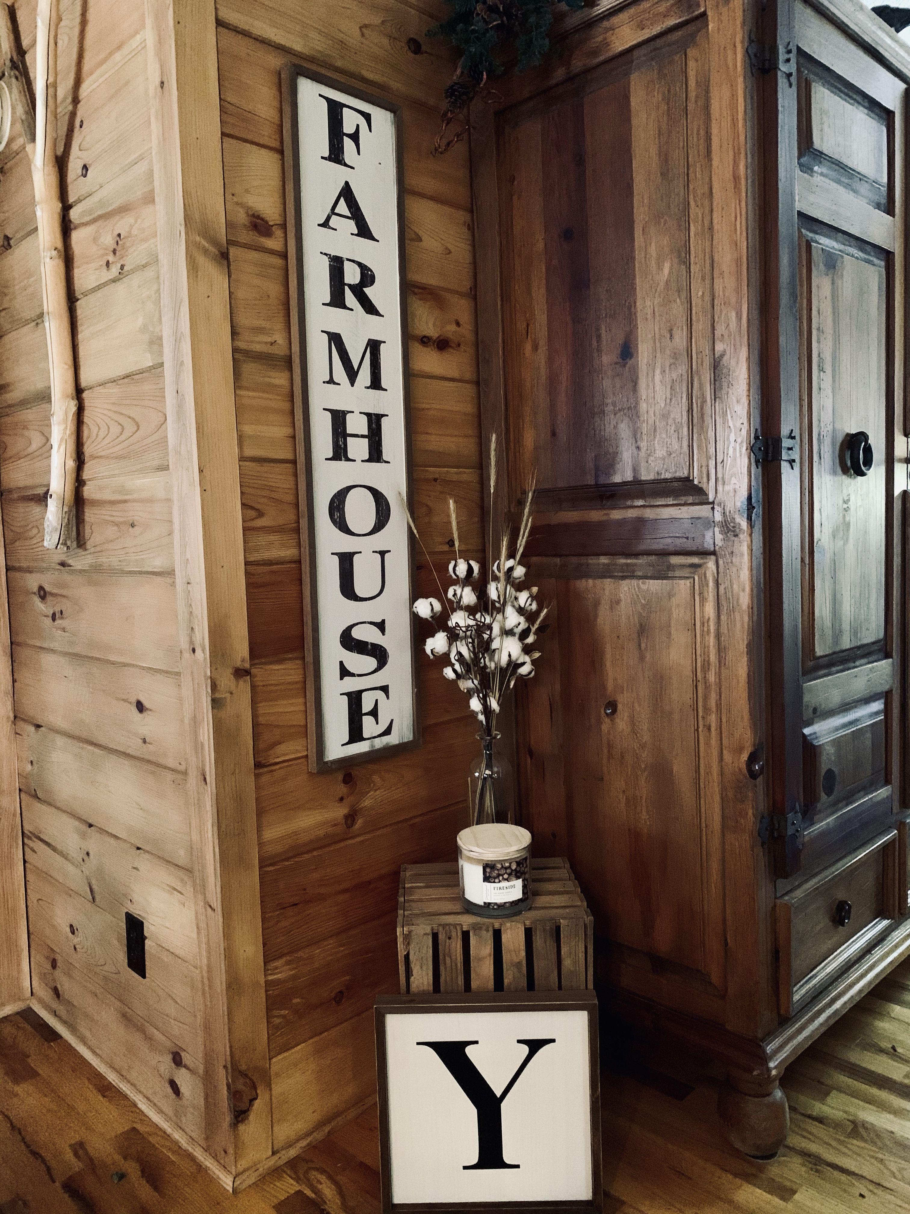 Farmhouse signHobby Lobby Cotton bouquet with wheat added