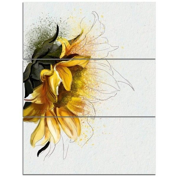 Bright Yellow Sunflower Illustration\' 3 Piece Wall Art on Wrapped ...