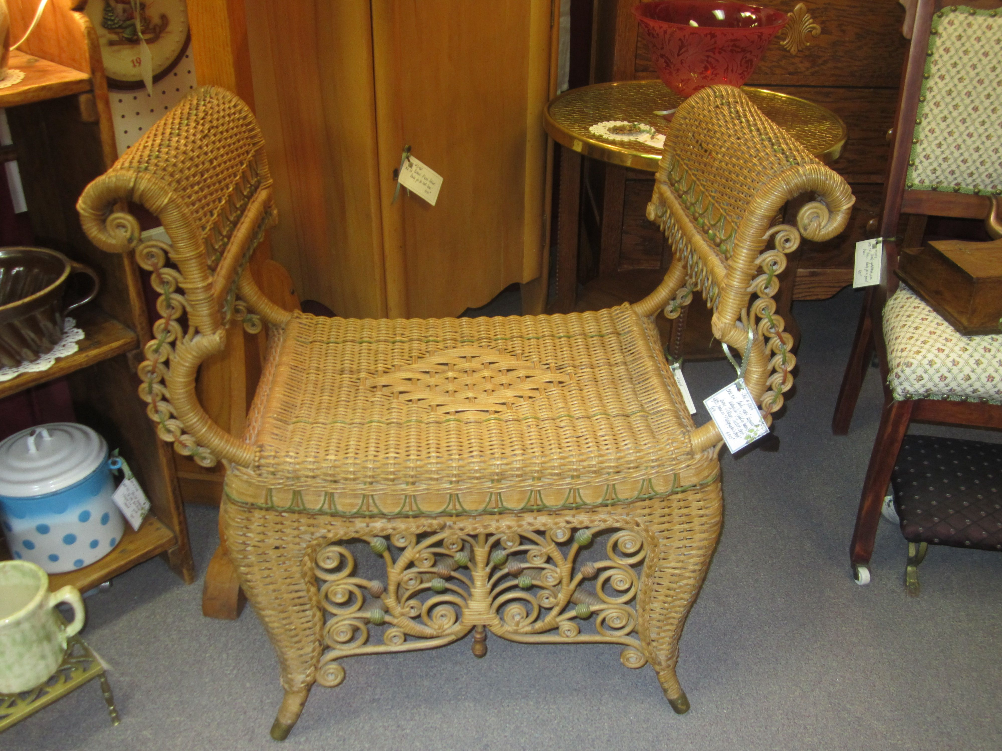 Antique wicker bustle seat.  Great condition.  What a unique looking piece!