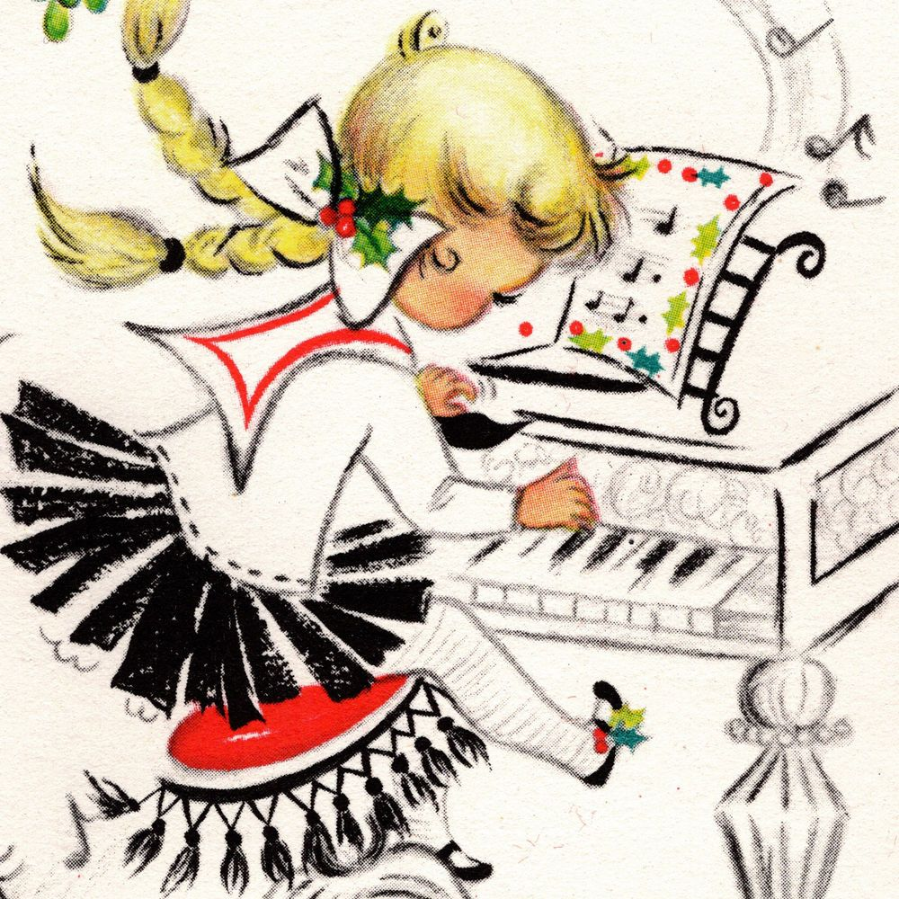 Vintage CHRISTMAS CARD Darling Little Girl UNUSED Piano