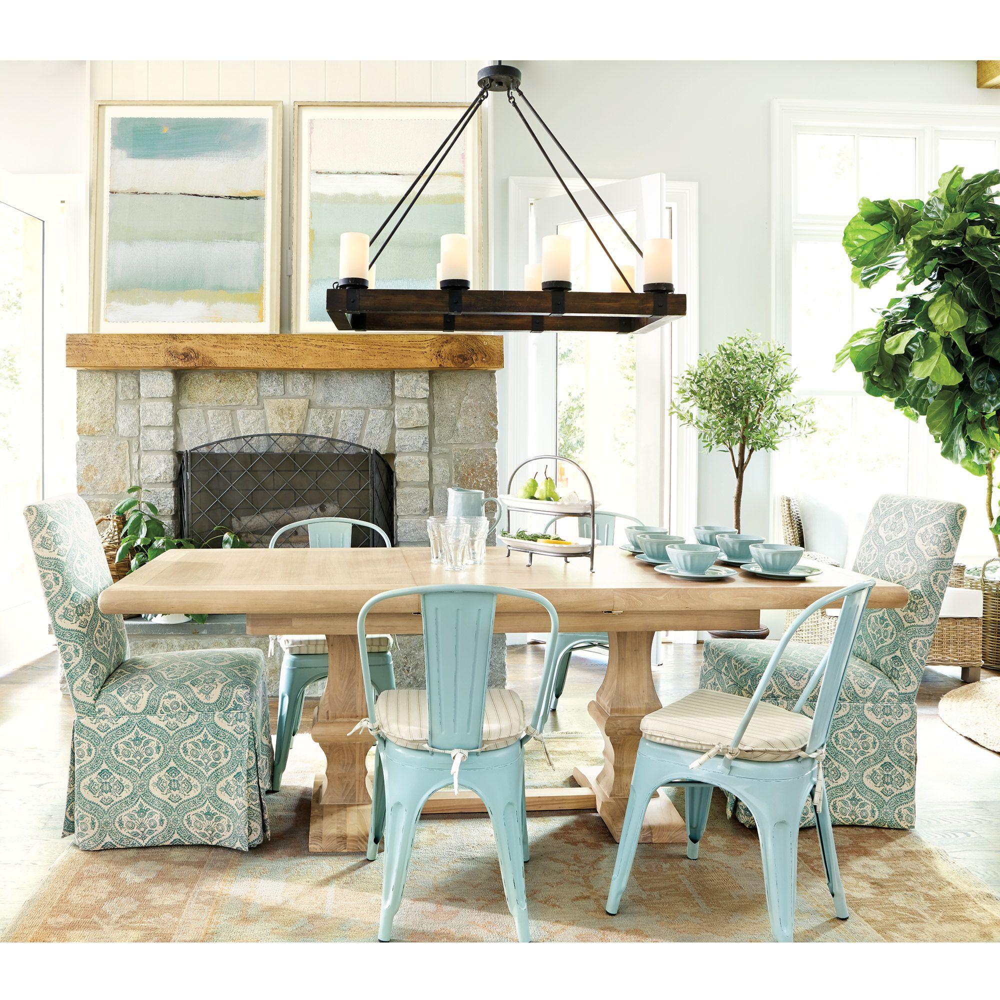 Aqua And Beige Dining Room