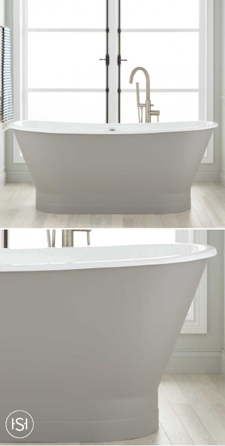 The 67 Kateryn Bateau Cast Iron Skirted Tub In Medium Gray Is Styled After French Or Boat Bath This Signature Hardware A