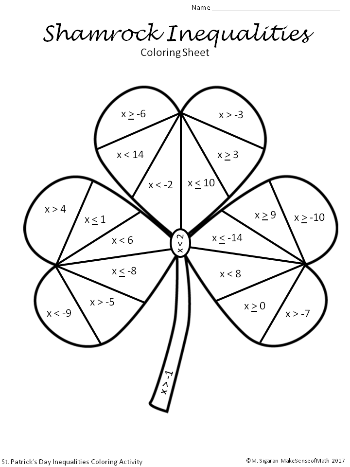 St. Patrick's Day Solving Inequalities Coloring Activity ...