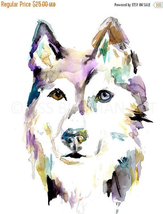 Husky Watercolor Print Husky By Jess Buhman Multiple Sizes