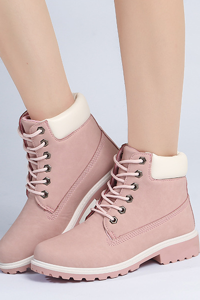 wholesale dealer 7ce5e e3f44 FAST SHIPPING Fall  Winter 2016 Fashion Women Pink Lace Up Martin Boots  Ankle Booties