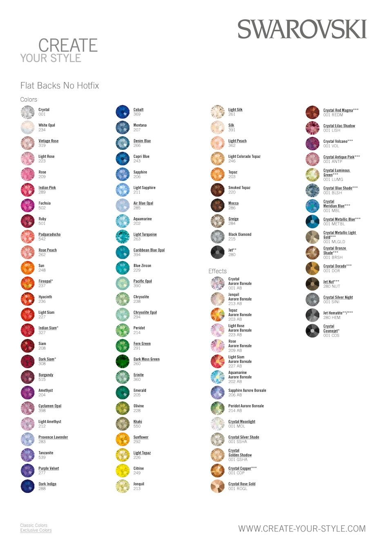 9c9d5f04a84 Latest Swarovski Colour Chart for their non-hotfix flatbacks ranges  www.rhinestonz.co.nz