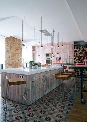 Patterned Kitchen Floor Tiles Border The Kitchen Island