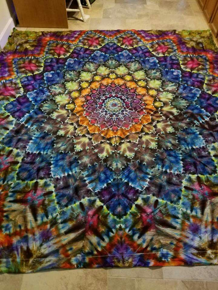 Multi Colored Mandala Tie Dye Crafts Diy Sheets