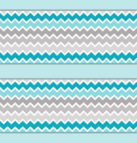 TURQUOISE GRAY CHEVRON Ombre Border Wall Art By Decampstudios
