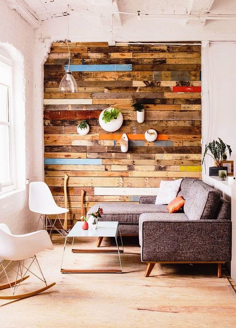 Small Living Room With Accent Wall Crafted Out Of Reclaimed Wooden Panels Accent Walls In Living Room Living Room Wood Wood Accent Wall #textured #accent #wall #living #room