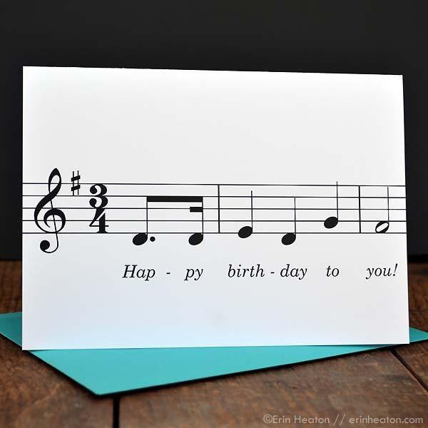 Happy Birthday Song Music Note Card Birthday Cards For Friends Music Greeting Cards Happy Birthday Music