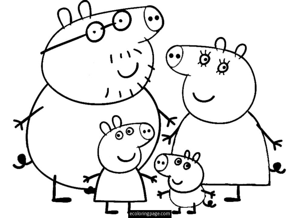 Peppa pig and family coloring page for kids printable for Peppa pig drawing templates