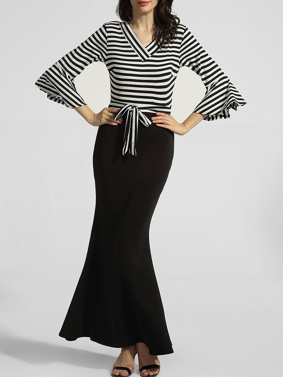 V neck bell sleeve striped patchwork mermaid maxidress only