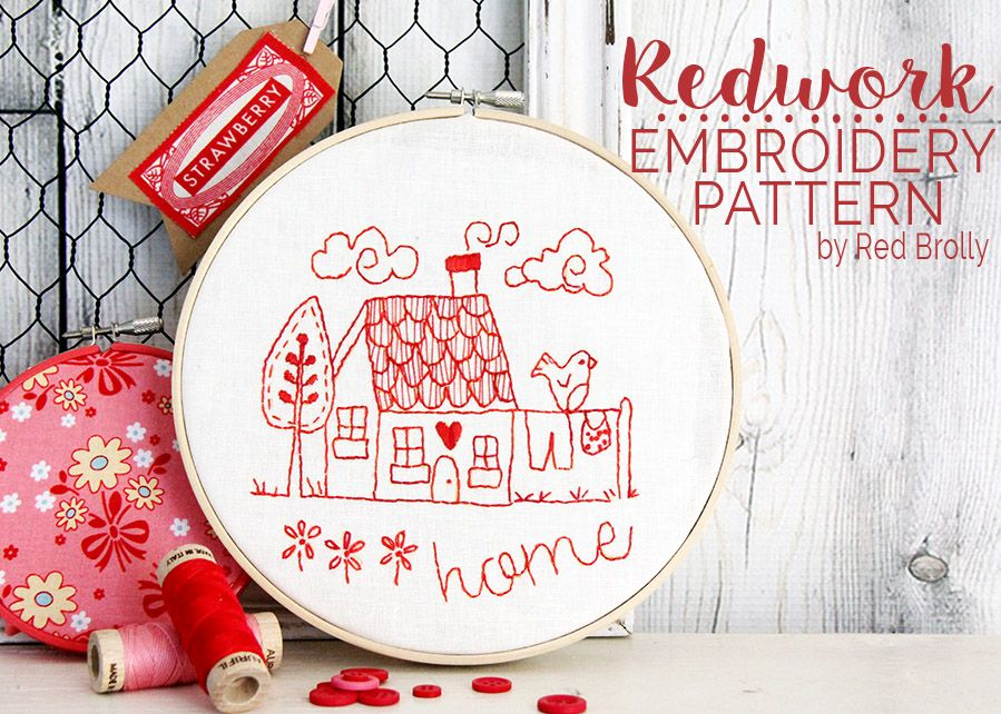 Stitch this pretty little cottage embroidery design. A free, simple ...