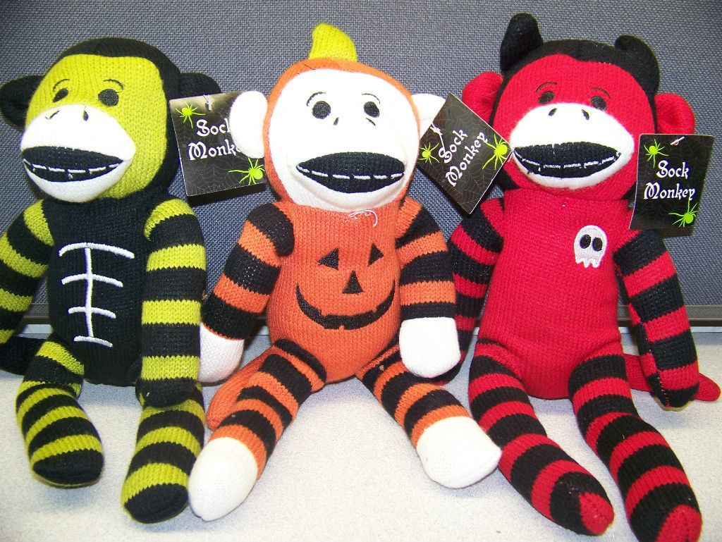 3 dan dee dandee halloween sock monkeys skeleton frankenstein
