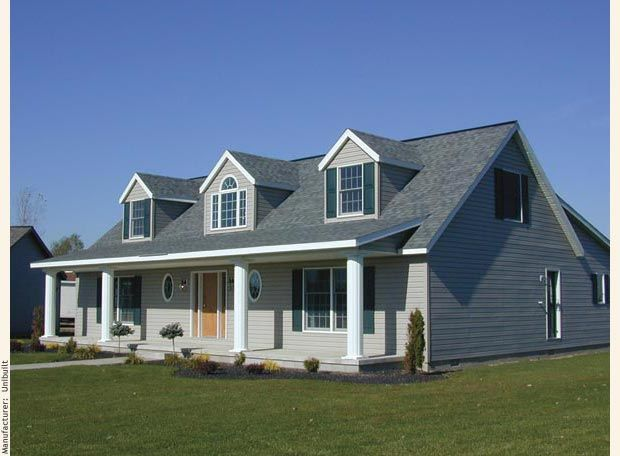 A cape cod modular home with three gable dormers crowning for Cape style modular homes