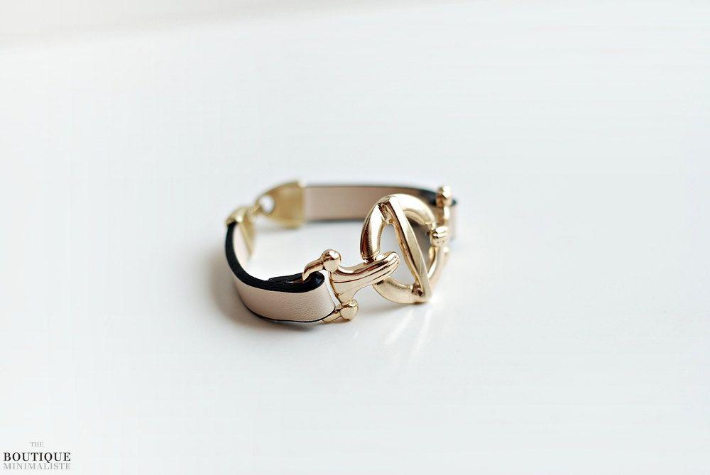 Gold & Nude Bracelet. $25.00, via Etsy.