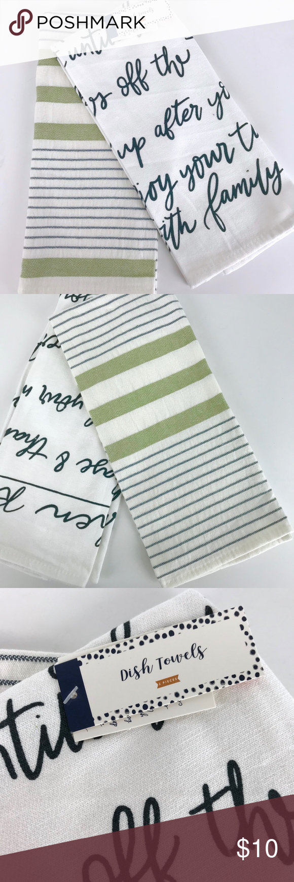 Set of 2 Kitchen Towels - Stripes & Kitchen Rules Set of 2 Kitchen Towels - Stripes & Kitchen Rules  BRAND NEW WITH TAGS  Who doesn't love a cute tea towel? Cute sage green and grey blue striped towel Also a kitchen rules script towel in grey blue print Last photo shows the phrasing on the script towel 100% cotton  Machine washable Brand new 15 X 25 inches   Bin3 Accents Decor #kitchenrules Set of 2 Kitchen Towels - Stripes & Kitchen Rules Set of 2 Kitchen Towels - Stripes & Kitchen Rules  BRA #kitchenrules