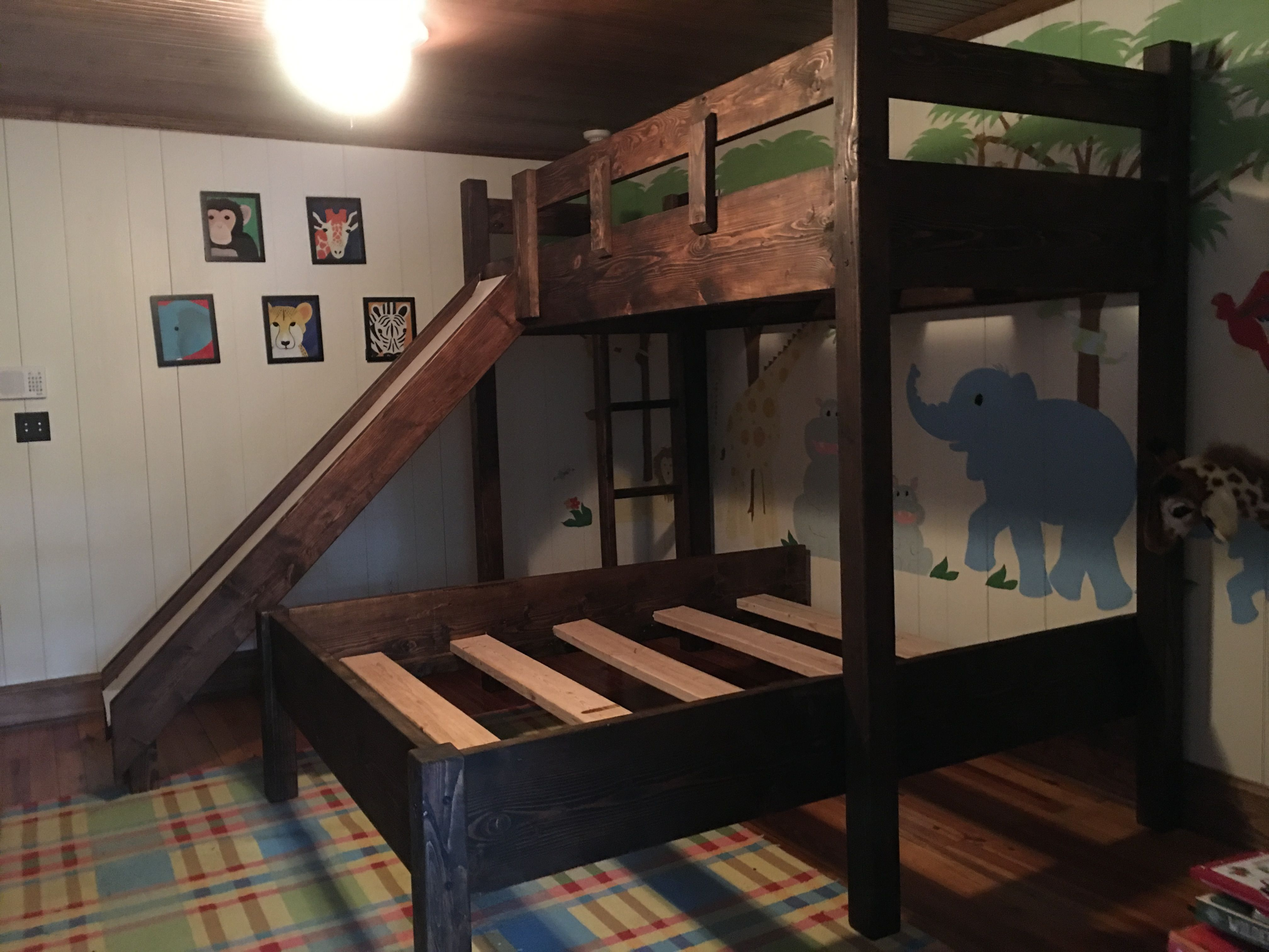 Custom Bunk Bed With Slide Twin Over Queen Bunk Bed For Kids And