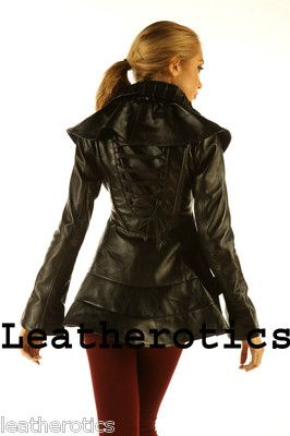 LEATHER BURLESQUE VICTORIAN TAIL COAT JACKET TOP STEAMPUNK GOTHIC COSTUME c1dae089f