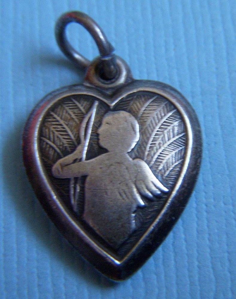"""Vintage cupid puffy heart """"Patsy"""" sterling charm"""