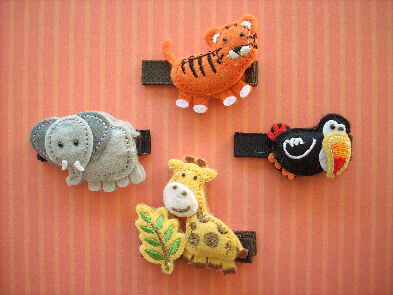 Jungle Babies - Puffy Felt Girls Hair Clippie Set - Elephant, Toucan, Tiger, Giraffe. $6.00, via Etsy.