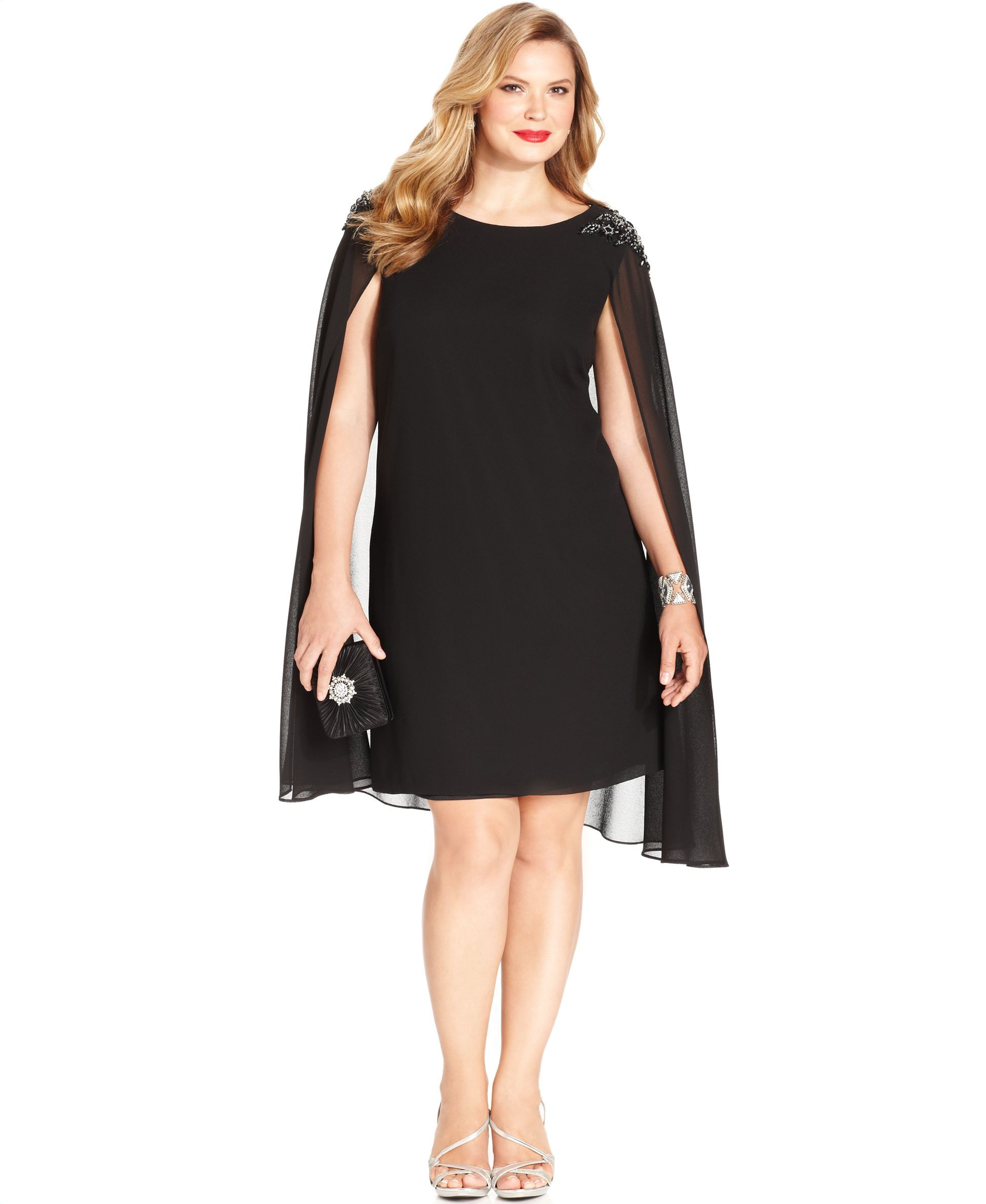 Xscape Plus Size Embellished Chiffon Capelet Dress | Covers ...