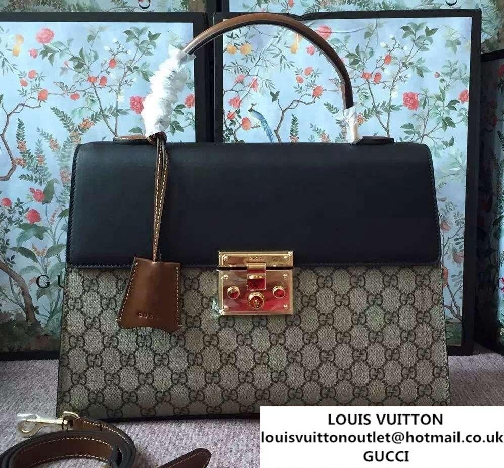 382131102d72e1 Gucci Padlock GG Canvas/Leather Top Handle Medium Bag 428208 Black/Brown  2016