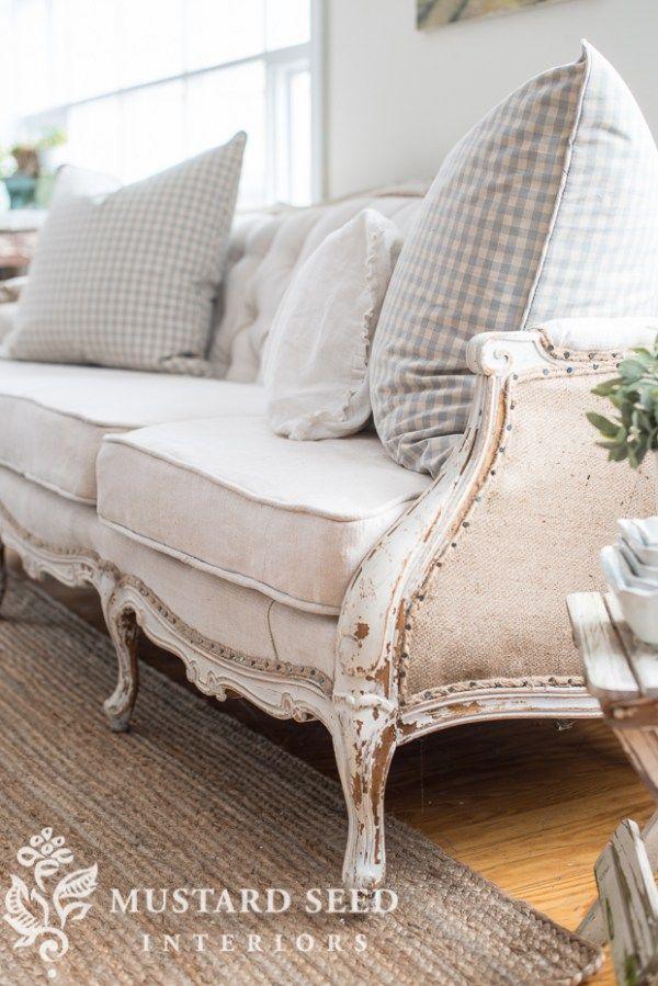 tufted sofa reveal - Miss Mustard Seed | Vintage Decor | Pinterest ...