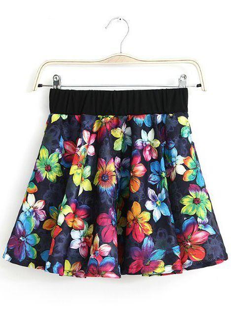 Black Elastic Waist Floral Ruffle Skirt US$18.63
