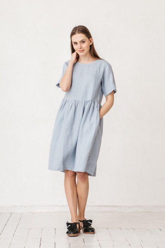 35745e3b597 Simple linen dress  Maxi dress  Summer dress  Everyday dress  Shift ...