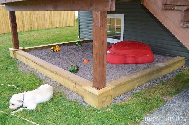 Pea Gravel Box Built Under Deck Sandbox On Top Filled