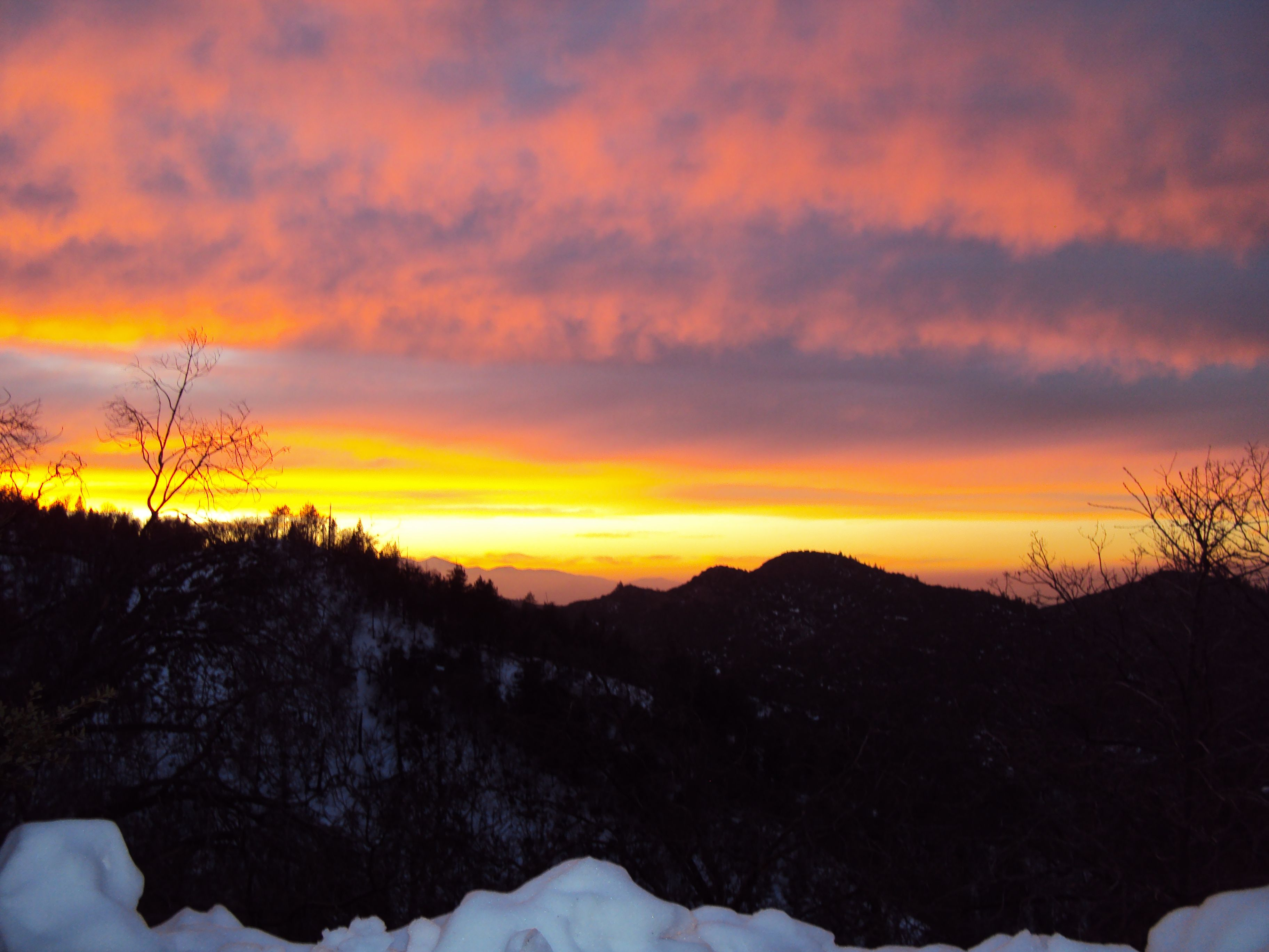 Vibrant sunset and snow in the San Bernardino Mountains.