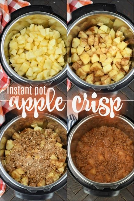 Easy Instant Pot Apple Crisp is made in minutes! Caramelized apples with a sweet, crisp topping is the perfect fall dessert recipe! #apple #applecrisp #instantpot #pressurecooker #dessert