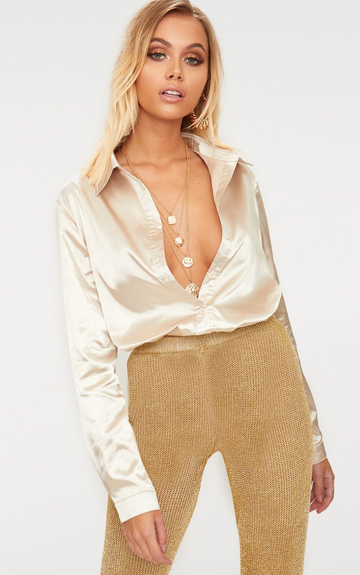 58f4bed23e0f Champagne Satin Button front Shirt in 2019 | Holiday wear | Satin ...