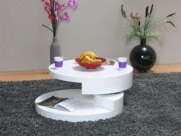 Rotondi sofabord diameter 80 hvit hyglans  Salongbord
