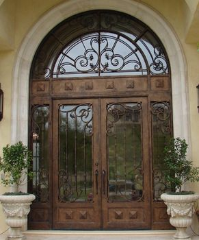 Best ROT 0214 Wrought Iron Exterior Door With Free Shipping And 8 Glass Types Transom Design