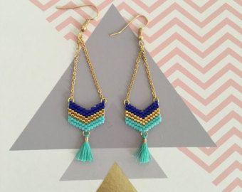 Boucles d'oreilles tendance doré et bleu by Sweethingsandco