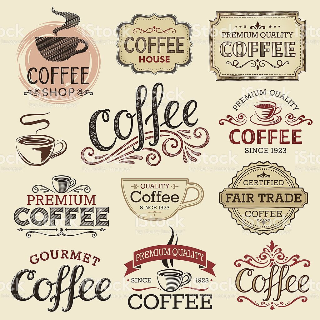 Set Of Hand Drawn Vintage Coffee Labels. Hi Res Jpeg