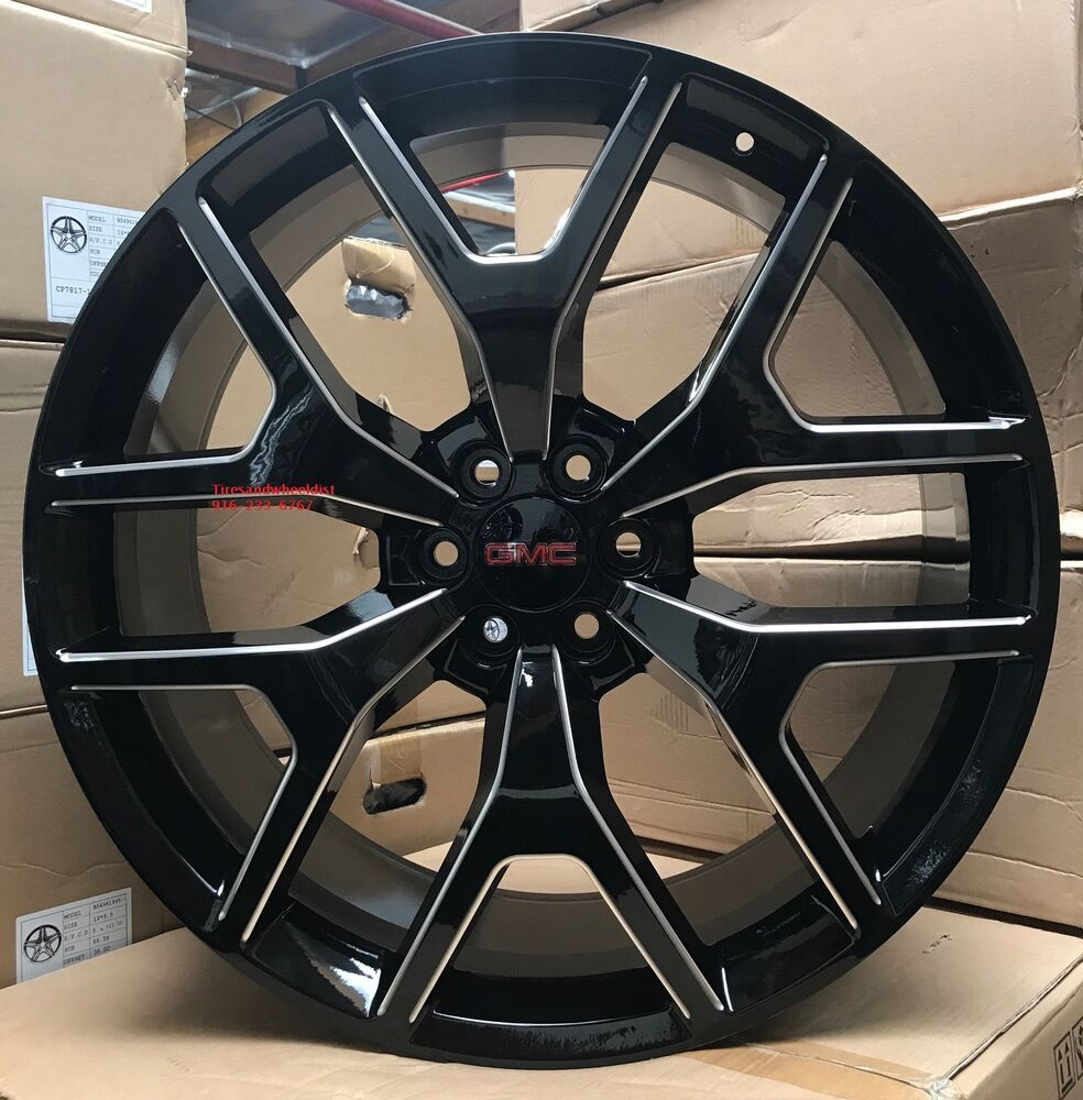 Details About 26 Inch Gmc Sierra Wheels Black Milled Denali Chevy Tahoe Yukon Suburban New Chevy Tahoe Gmc Sierra Chevy