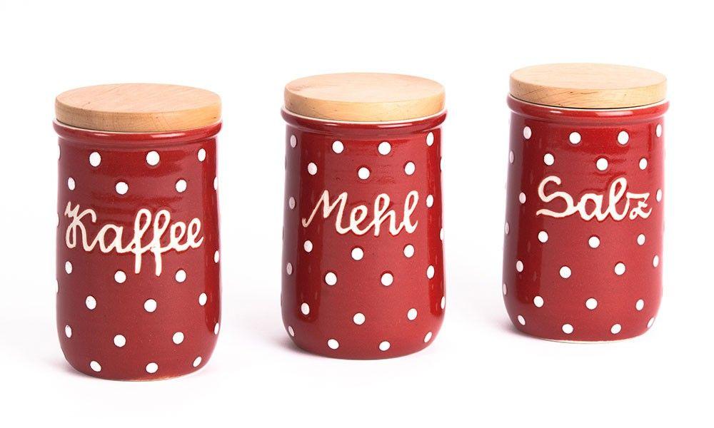Aufbewahrungsdosen Rot+Weiß - Kaffeedose - Mehldose - Zuckerdose ...