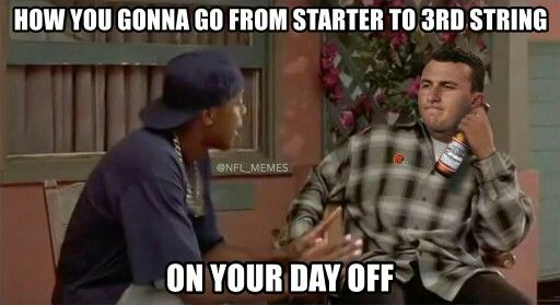 Johnny Football Is Now Johnny Benchwarmer Nfl Funny Nfl Memes Football Jokes Funny