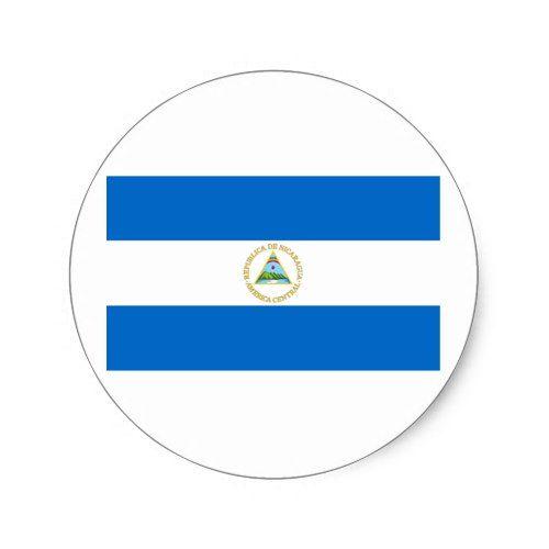 Flag Of Nicaragua Classic Round Sticker Zazzle Com Round Stickers Nicaragua Flag Custom Stickers