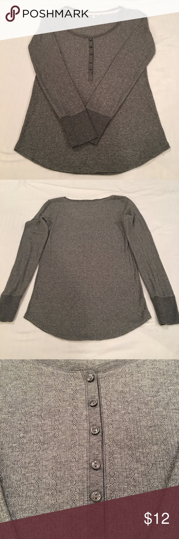 Victoria's Secret Henley Tee Perfect to wear with pj bottoms. Gray color with hints of silver threads running through it. Simply adorable! Super great condition! Victoria's Secret Tops Tees - Long Sleeve