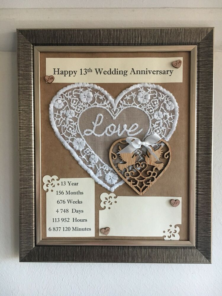 13th Wedding Anniversary Frame Rustic Gift Lace 3d Handmade Wooden
