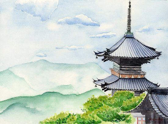 Japanese Temple Kyoto Kiyomizudera Art Watercolor Painting