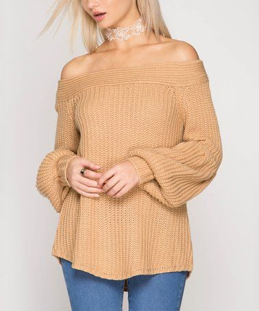 Look what I found on #zulily! Taupe Balloon-Sleeve Off-Shoulder Sweater #zulilyfinds